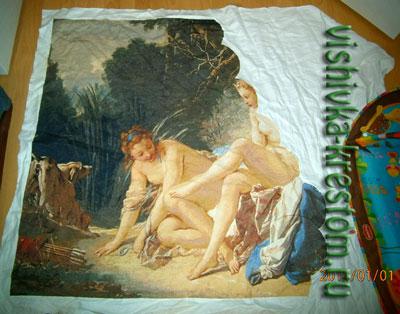 Процессы вышивки больших картин