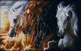 Вышивка крестом Четыре коня