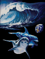 Вышивка крестом Дельфины - космический океан