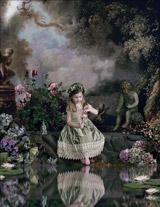 Вышивка крестом Девочка у пруда