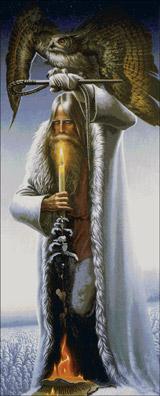 Вышивка крестом Человек с Филином по картине Васильева