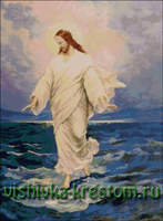Вышивка крестом Иисус, идущий по воде