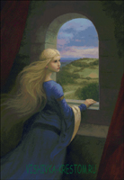 Вышивка крестом Лада у окна