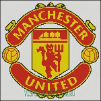 Вышивка крестом Эмблема футбольного клуба Манчестер Юнайтед.