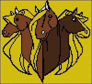 Вышивка крестом 3 коня
