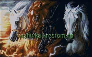 Схема для вышивки крестом: Четыре коня