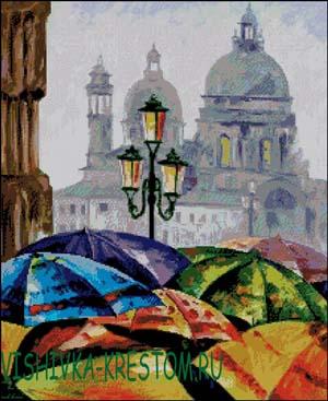 Схема для вышивки крестом: Зонты - Леонид Афремов