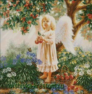 Вышивка крестом Ангел в яблочном саду