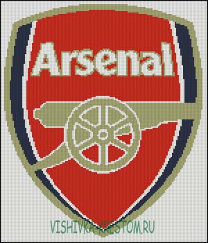 Схема для вышивки крестом: Эмблема футбольного клуба Арсенал.