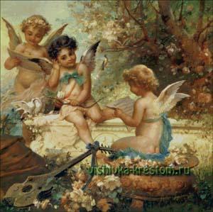 Схема для вышивки крестом: Три ангелочка с лютней
