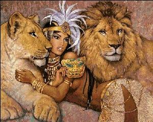 Вышивка крестом Девушка и львы