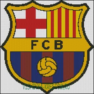 Схема для вышивки крестом: Эмблема футбольного клуба Барселона.