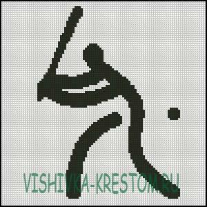 Схема для вышивки крестом: Логотип вида спорта Бейсбол
