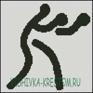 Схема для вышивки крестом: Логотип вида спорта Бокс