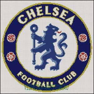 Схема для вышивки крестом: Эмблема футбольного клуба Челси