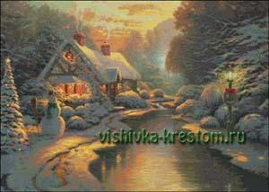 Схема для вышивки крестом: Рождественский вечер