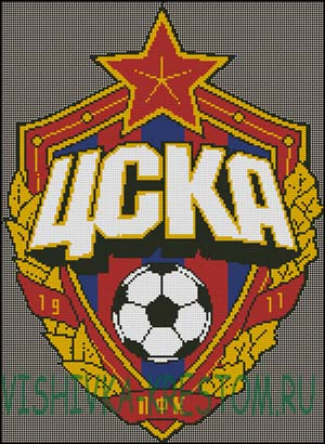 Схема для вышивки крестом: Эмблема футбольного клуба ЦСКА