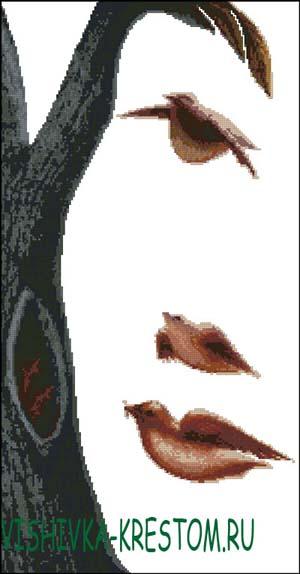 Схема для вышивки крестом: Девушка-дерево
