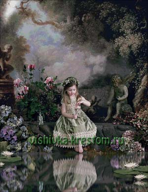 Схема для вышивки крестом: Девочка у пруда
