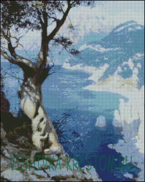 Вышивка крестом Дымка над морем