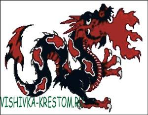 Схема для вышивки крестом: Дракон изрыгающий пламя