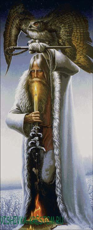 Схема для вышивки крестом: Человек с Филином по картине Васильева