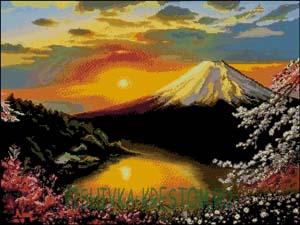 Схема для вышивки крестом: Вид на Фудзияму