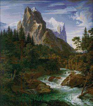 Схема для вышивки крестом: Горный пейзаж