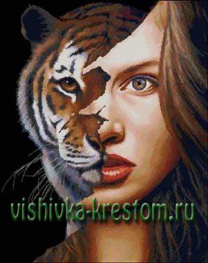 Схема для вышивки крестом: Женщина-тигрица