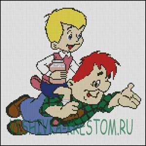 Схема для вышивки крестом: Малыш и Карлсон