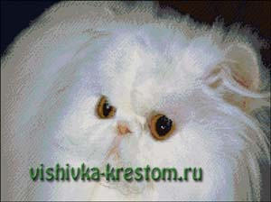 Схема для вышивки крестом: Белая кошка