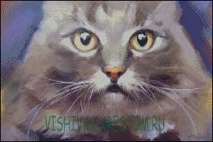 Схема для вышивки крестом: Кошачий портрет