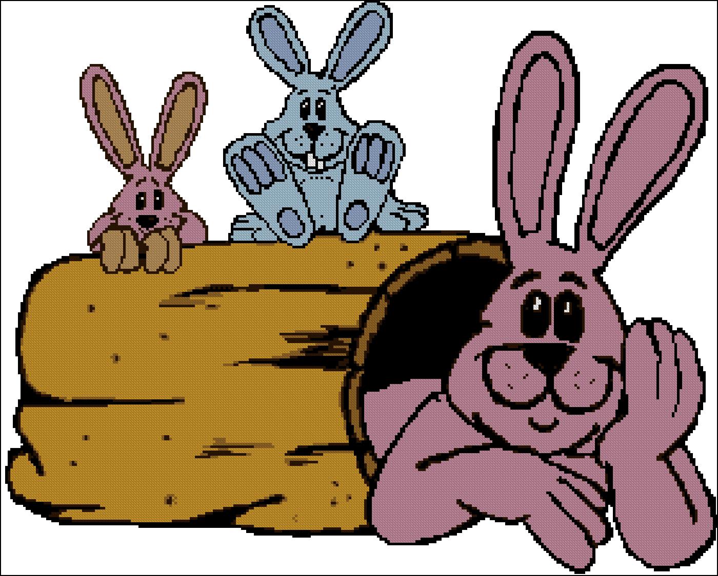 Схема для вышивки крестом: Кролики