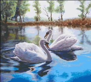 Вышивка крестом Лебединая пара