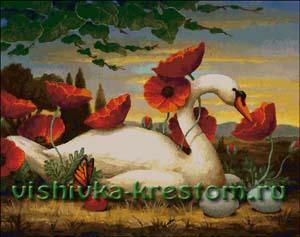 Схема для вышивки крестом: Лебедь по картине К.Слоана