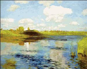 Схема для вышивки крестом: Пейзаж Левитана