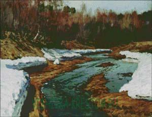 Схема для вышивки крестом: Левитан Весна Большая вода
