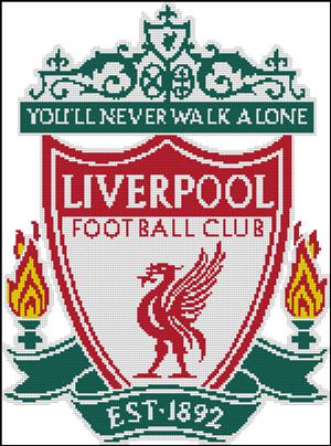 Вышивка крестом эмблема футбольного клуба Ливерпуль
