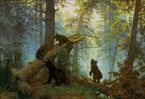 Вышивка крестом утро в сосновом лесу