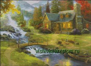 Схема для вышивки крестом: Горный пейзаж Кинкейда