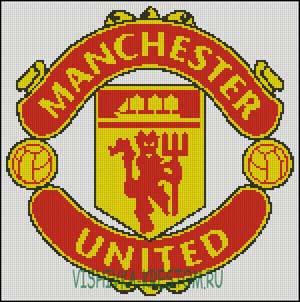 Схема для вышивки крестом: Эмблема футбольного клуба Манчестер Юнайтед.