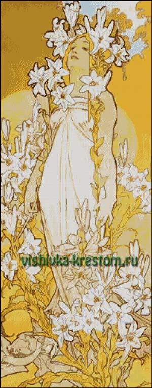 Схема для вышивки крестом: Лилия по картине А. Муха