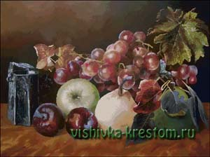 Схема для вышивки крестом: Натюрморт с виноградом