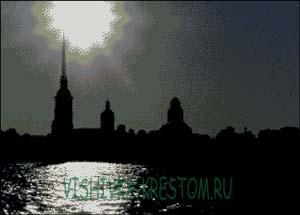 Схема для вышивки крестом: Ночной Санкт-Петербург