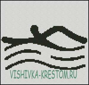 Вышивка крестом Логотип вида спорта Плаванье