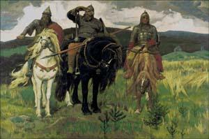 Схема для вышивки крестом: Три богатыря
