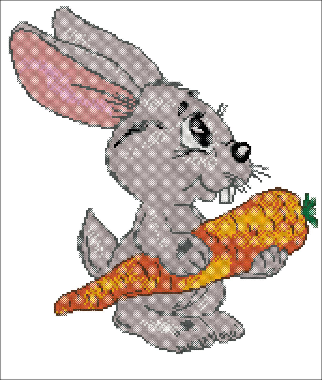 Схема для вышивки крестом: Заяц с морковкой