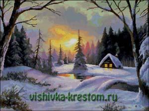 Схема для вышивки крестом: Зимний вечер
