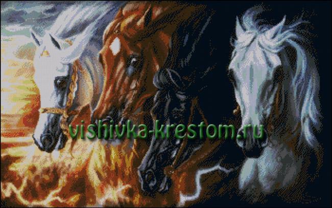 SLO-003 Четыре коня Апокалипсиса 4 Horses of Apocalypse Вышивка Крестом.