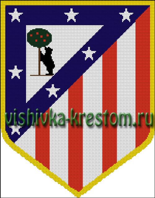 Схема для вышивки крестом: эмблема футбольного клуба Атлетико Мадрид